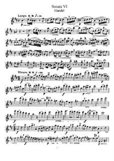 Соната для флейты и клавесина си минор, HWV 367b Op.1 No.9b: Сольная партия by Георг Фридрих Гендель