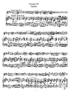 Соната для флейты и клавесина си минор, HWV 367b Op.1 No.9b: Партитура by Георг Фридрих Гендель