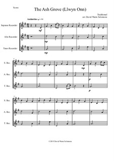 15 easy trios for recorder trio (soprano, alto, tenor): The Ash Grove (Llwyn Onn) by folklore