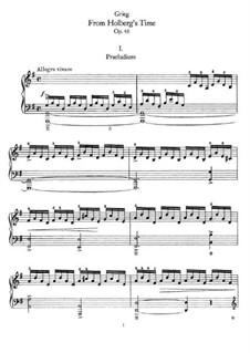 Из времен Хольберга, Op.40: Для фортепиано by Эдвард Григ