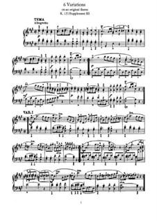 Шесть вариаций на оригинальную тему, K. Anh. 137: Для фортепиано by Вольфганг Амадей Моцарт