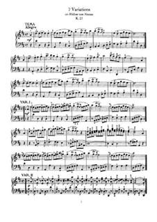 Семь вариаций на тему 'Wilhelm von Nassan', K.25: Для фортепиано by Вольфганг Амадей Моцарт