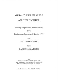 Песня женщин поэту: Песня женщин поэту by Matthias Bonitz