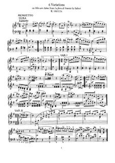 Шесть вариаций на тему 'Mio caro Adona' А. Сальери, K.180: Для фортепиано by Вольфганг Амадей Моцарт