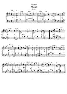 Менуэт для фортепиано ля мажор, D.334: Для одного исполнителя by Франц Шуберт