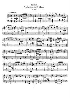 Андантино для фортепиано до мажор (Фрагмент), D.348: Для одного исполнителя by Франц Шуберт