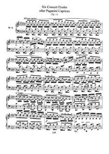 Шесть концертных этюдов по каприсам Паганини, Op.10: Для фортепиано by Роберт Шуман