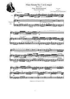 Соната для виолы да гамба и клавесина No.1 соль мажор, BWV 1027: Arrangement for flute and harpsichord (or piano) by Иоганн Себастьян Бах
