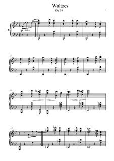Вальс No.8: Аранжировка для фортепиано by Иоганнес Брамс