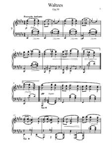 Вальс No.7: Аранжировка для фортепиано by Иоганнес Брамс