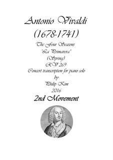 Концерт для скрипки с оркестром No.1 ми мажор 'Весна', RV 269: Movement II, for piano by Антонио Вивальди