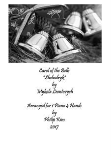 Carol of the Bells: Для фортепиано в 4 руки by Mykola Leontovych