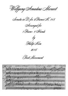 Соната для двух фортепиано в четыре руки ре мажор, K.448 (375a): Movement I. Arrangement for piano four hands by Вольфганг Амадей Моцарт
