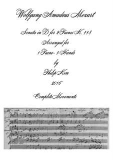 Соната для двух фортепиано в четыре руки ре мажор, K.448 (375a): Complete. Arrangement for piano four hands by Вольфганг Амадей Моцарт