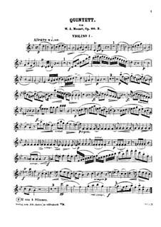 Квинтет для кларнета и струнных инструментов ля мажор, K.581: Партия I скрипки (си-бемоль мажор) by Вольфганг Амадей Моцарт