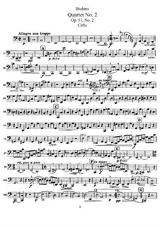 Струнный квартет No.2 ля минор, Op.51: Партия виолончели by Иоганнес Брамс