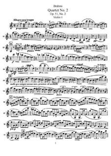 Струнный квартет No.2 ля минор, Op.51: Скрипка I by Иоганнес Брамс