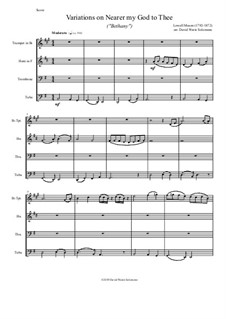 Ближе, Господь, к Тебе: Variations, for brass quartet by Lowell Mason