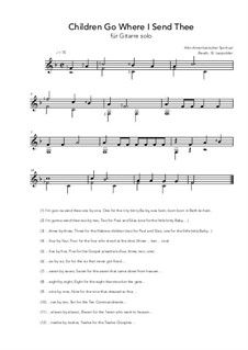 Children Go Where I Send Thee: For guitar solo (F Major) by folklore