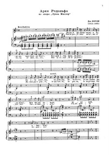 Луиза Миллер: Tanto perfidia!, Quando le sere al placido... aria di Rodolfo by Джузеппе Верди