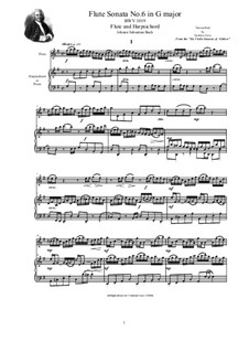 Соната для скрипки и клавесина No.6 соль мажор, BWV 1019: Arrangement for flute and harpsichord (or piano) by Иоганн Себастьян Бах