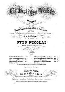 Виндзорские проказницы: Увертюра. Переложение для фортепиано в четыре руки by Отто Николаи