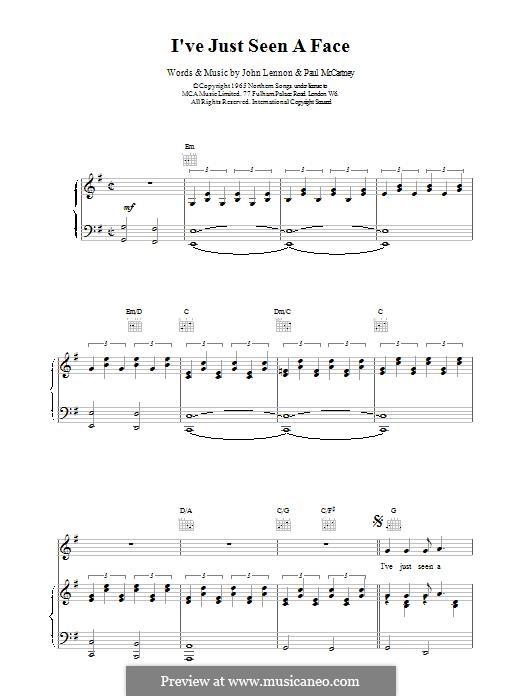 I've Just Seen a Face (The Beatles): Для голоса и фортепиано (или гитары) by John Lennon, Paul McCartney