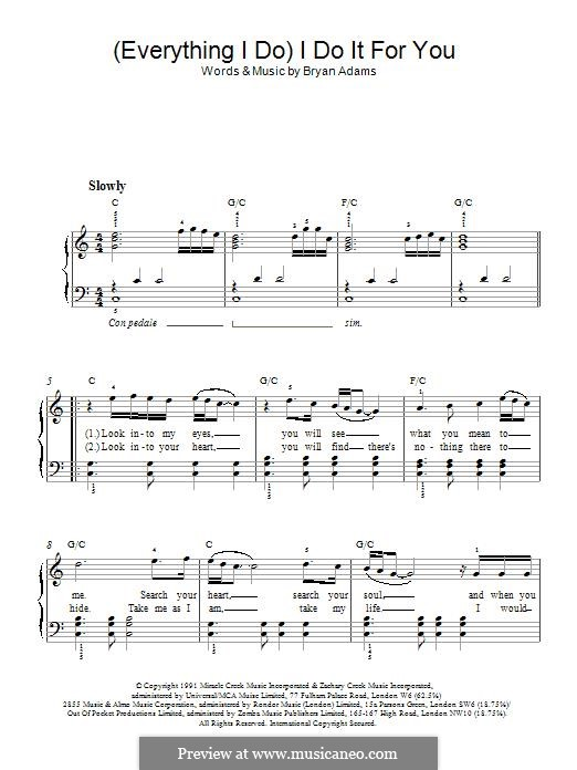 (Everything I Do) I Do It For You: Для фортепиано by Bryan Adams, Michael Kamen, Robert John Lange