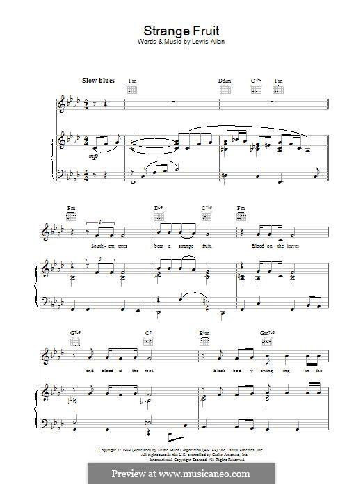 Strange Fruit: Для голоса и фортепиано или гитары (Billie Holiday) by Lewis Allan