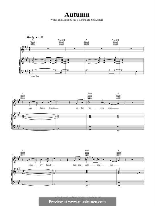 Autumn: Для голоса и фортепиано (или гитары) by Jim Duguid, Paolo Nutini