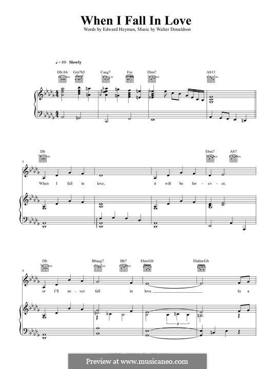 When I Fall in Love (Nat King Cole): Для голоса и фортепиано (или гитары) by Уолтер Дональдсон