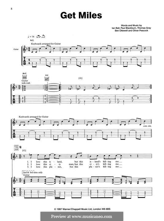 Get Miles (Gomez): Гитарная табулатура by Thomas J. Gray, Benjamin Ottewell, Ian Ball, Oliver Peacock, Paul Blackburn