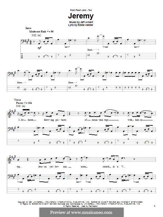 Jeremy (Pearl Jam): Для бас-гитары с табулатурой by Jeff Ament