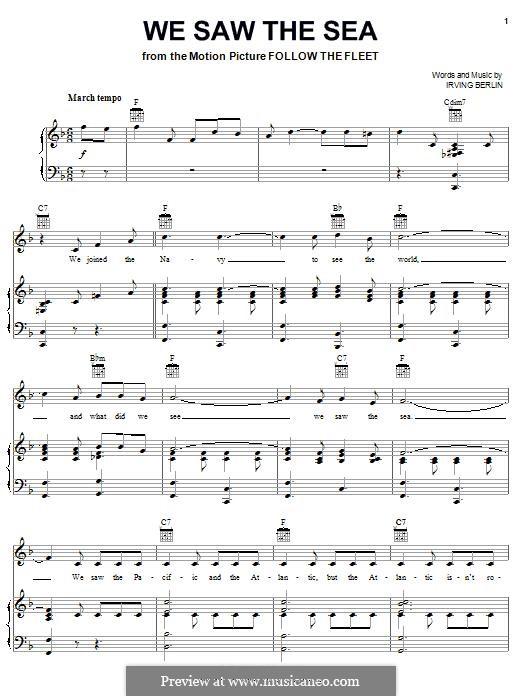 We Saw the Sea: Для голоса и фортепиано (или гитары) by Ирвинг Берлин