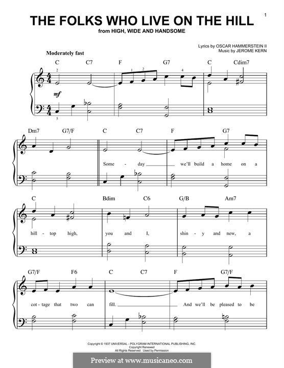The Folks Who Live on the Hill: Для фортепиано by Джером Керн