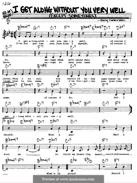 I Get Along Without You Very Well: For instrument in B Flat by Hoagy Carmichael