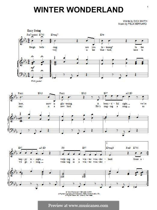 Winter Wonderland: Для голоса и фортепиано by Felix Bernard