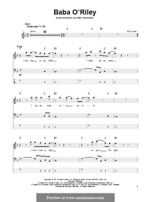 Baba O'Reilly (from Summer of Sam): Для бас-гитары с табулатурой by Peter Townshend