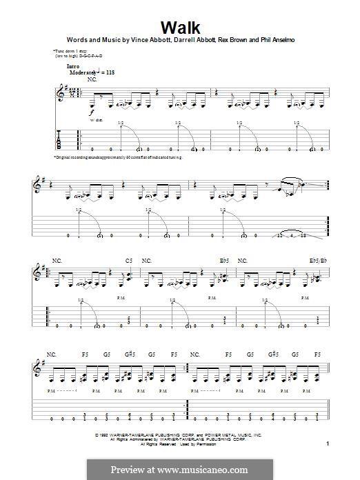 Walk (Pantera): Гитарная табулатура by Vince Abbott, Darrell Abbott, Rex Brown, Phill Anselmo