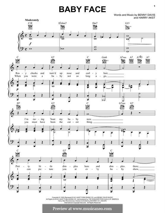 Baby Face: Для голоса и фортепиано (или гитары) by Benny Davis
