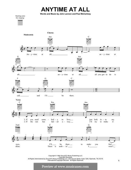 Any Time at All (The Beatles): Гитарная табулатура by John Lennon, Paul McCartney