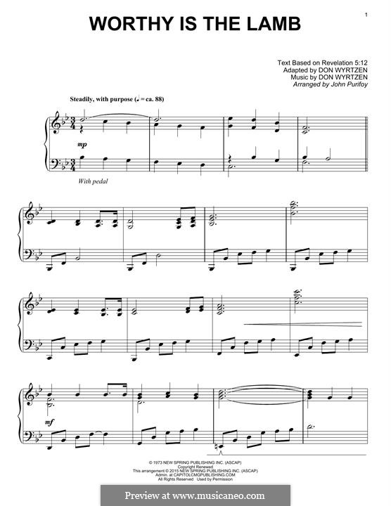 Worthy Is The Lamb: Для фортепиано by Don Wyrtzen