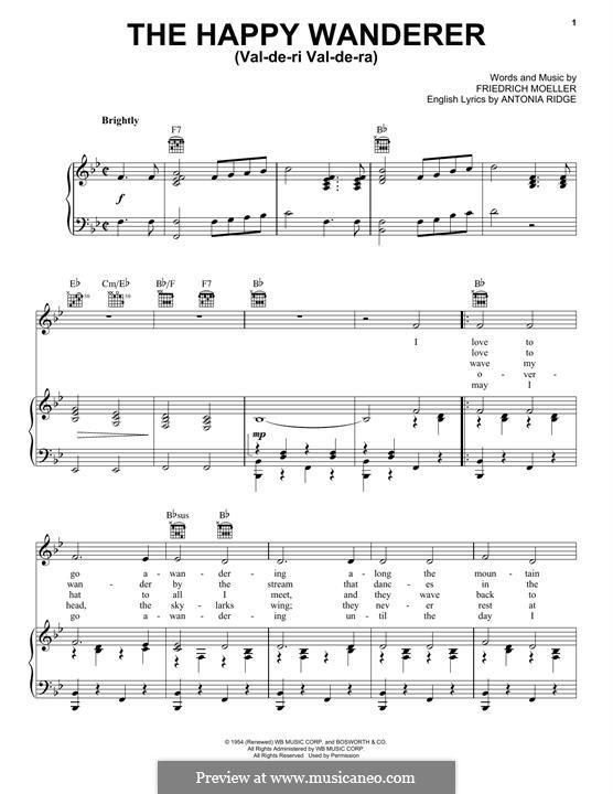 The Happy Wanderer (Val-De-Ri, Val-De-Ra): Для голоса и фортепиано (или гитары) by Friedrich W. Moller