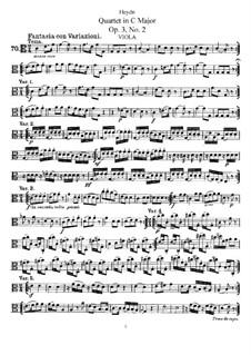 Струнный квартет до мажор, Hob.III/14 Op.3 No.2: Партия альта by Йозеф Гайдн