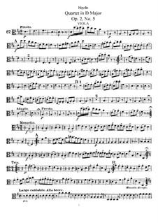 Струнный квартет ре мажор, Hob.III/11 Op.2 No.5: Партия альта by Йозеф Гайдн