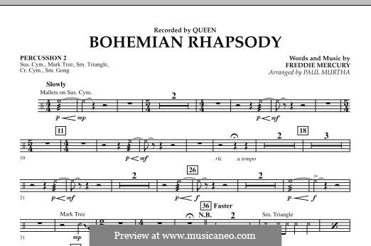 Bohemian Rhapsody (Arrangement by Paul Murtha): Percussion 2 part by Freddie Mercury