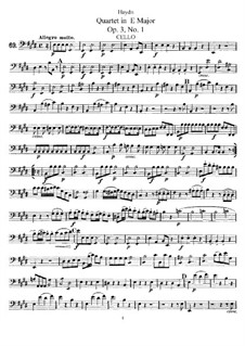 Струнный квартет ми мажор, Hob.III/13 Op.3 No.1: Партия виолончели by Йозеф Гайдн