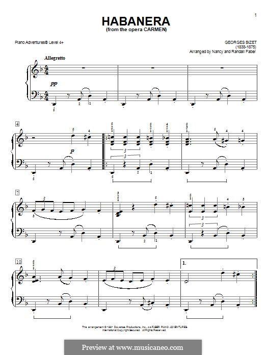 Хабанера: Легкая версия для фортепиано by Жорж Бизе
