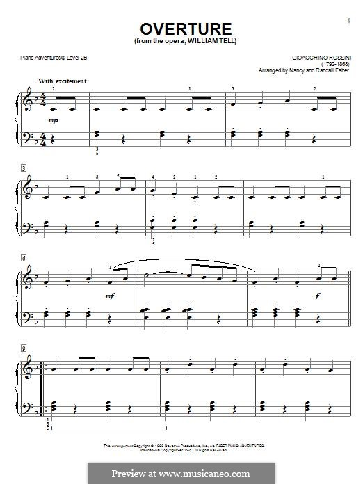 Увертюра: Для фортепиано (легкий уровень) by Джоаккино Россини