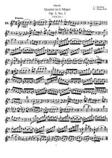Струнный квартет соль мажор, Hob.III/15 Op.3 No.3: Партия первой скрипки by Йозеф Гайдн